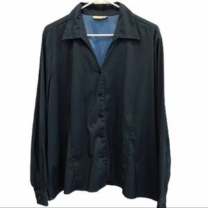 Encore Stretchy navy long sleeve button up size 22